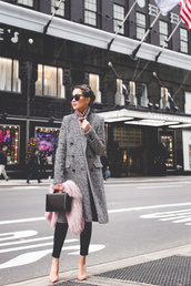 dress,tumblr,houndstooth,scarf,pink scarf,fur scarf,pumps,bag,black bag,boxed bag,sunglasses