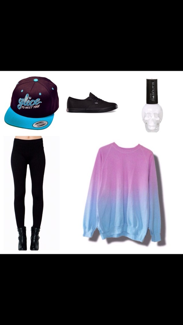 sweater ombre sweater ombre snapback justin bieber vans vans black shoes black sneakers leggings black leggings nail polish white shoes pants nail polish hat