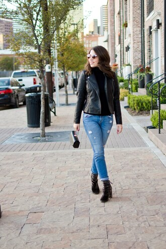 champagne&citylights blogger jeans jacket shoes bag leather jacket boots