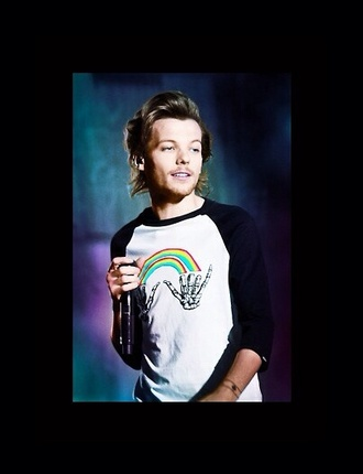 louis tomlinson shirt rainbow one direction tees one direction rainbow baseball t-shirt