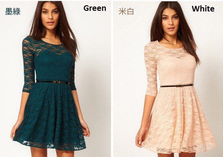 Xpress Deal: Round Neck Lace Party Dress (4 colours)