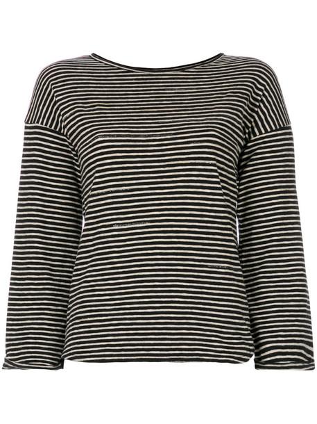 Bellerose - boxy striped T-shirt - women - Cotton/Linen/Flax - 2, Black, Cotton/Linen/Flax