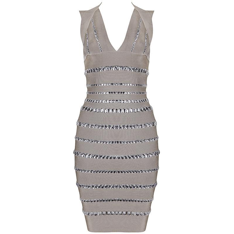 Beige mocha rhinestone diamante bandage bodycon midi pencil dress — girl crush boutique