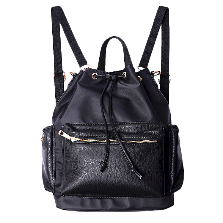and korean style Hip Hop women black backpacks washed soft leather ...