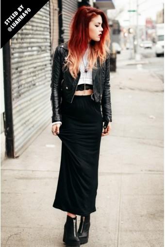 Open Ribs Black Maxi Dress