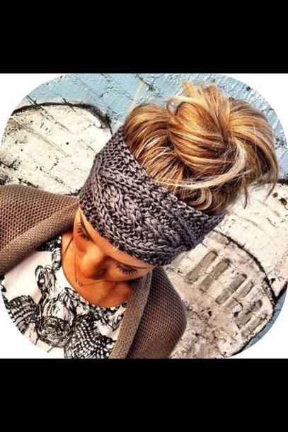 hair accessory grey knit headband