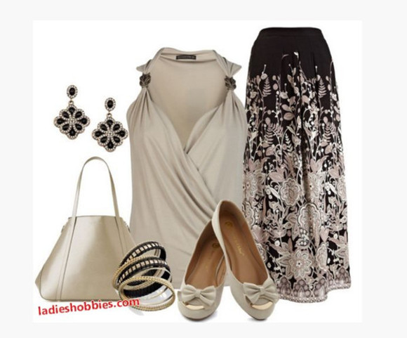 blouse shirt v-neck top tank top gathered shoulders cross over top taupe top skirt long skirt maxi skirt pattern skirt floral pattern earrings bag purse bracelet bangles shoes flats bow flats sleeveless clothes outfit