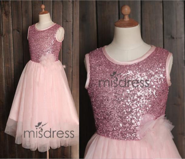 f1abda41d dress pink sequin tulle flower girl dress wedding children dress easter  bridesmaid communion baptism dress infant