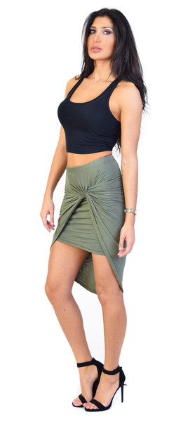 Olive knotted drape skirt