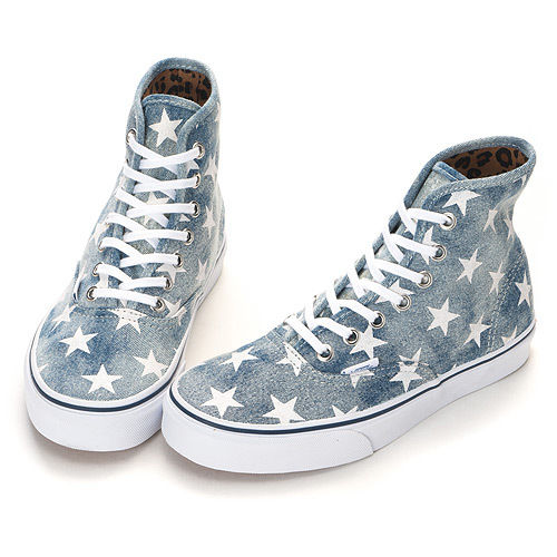VANS Authentic Hi (Washed Denim) Blue-Stars Leopard Canvas Shoes 31010121  Socks | eBay