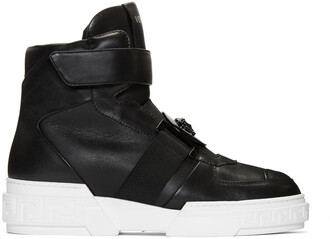 high sneakers leather black black leather shoes