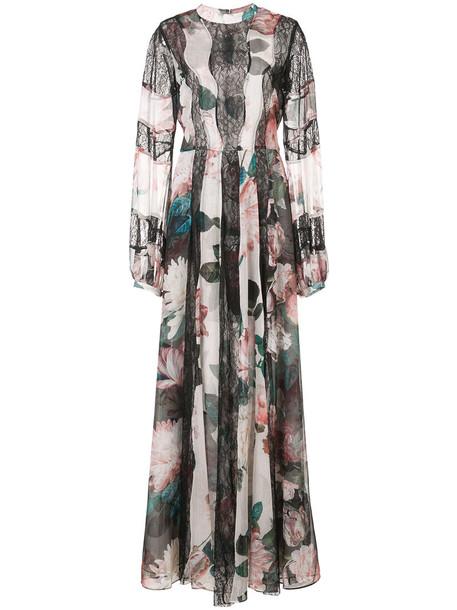 gown women floral print black dress