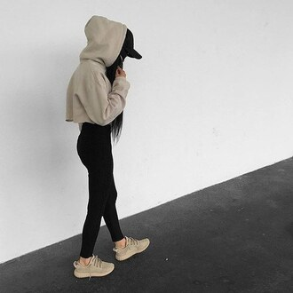 shoes yeezy crop tops coat beige black ghetto fashion