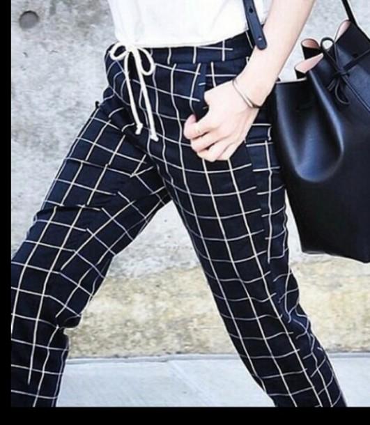 pants noir et blanc pantalon jeans motif carreaux