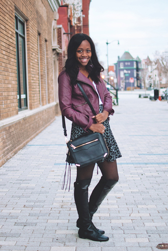 alicia tenise blogger skirt bag perfecto purple leopard print knee high boots winter outfits