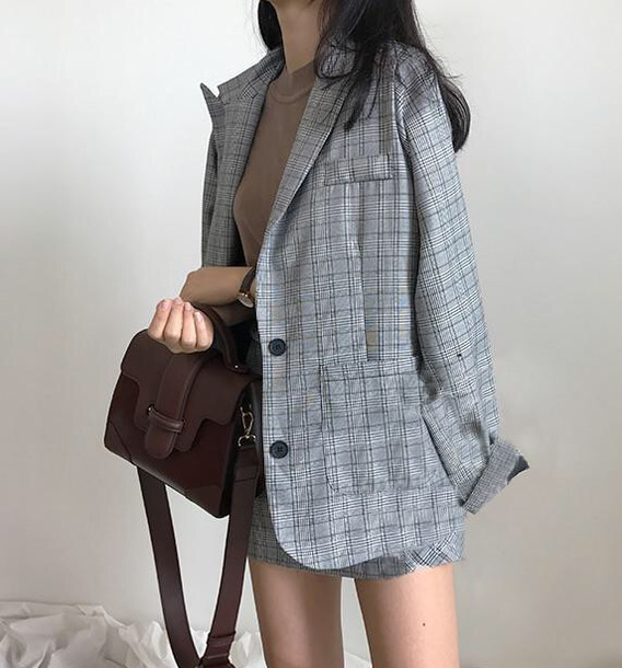 jacket girly grey plaid blazer