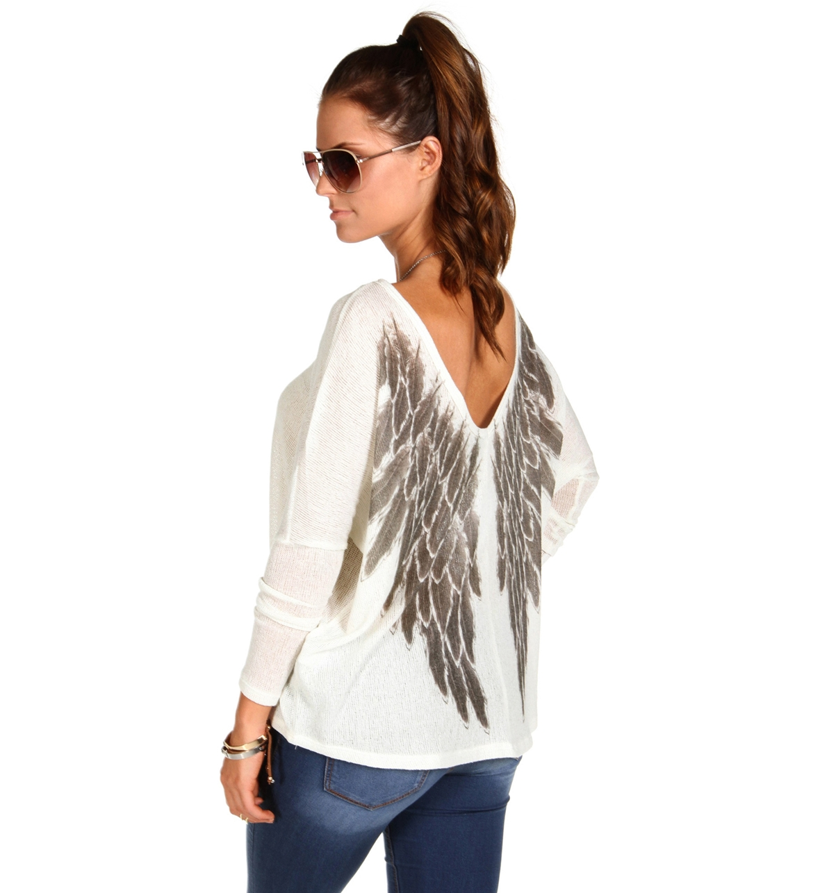 Ivory Angel Wings Back Dolman Top