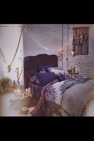 jewels bedding bedroom purple teal white tribal pattern bohemian quilt pattern hippie duvet comfy sleep