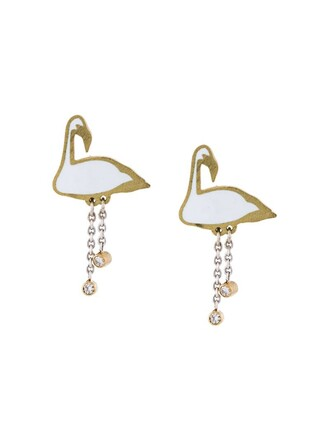 metallic women flamingo earrings jewels