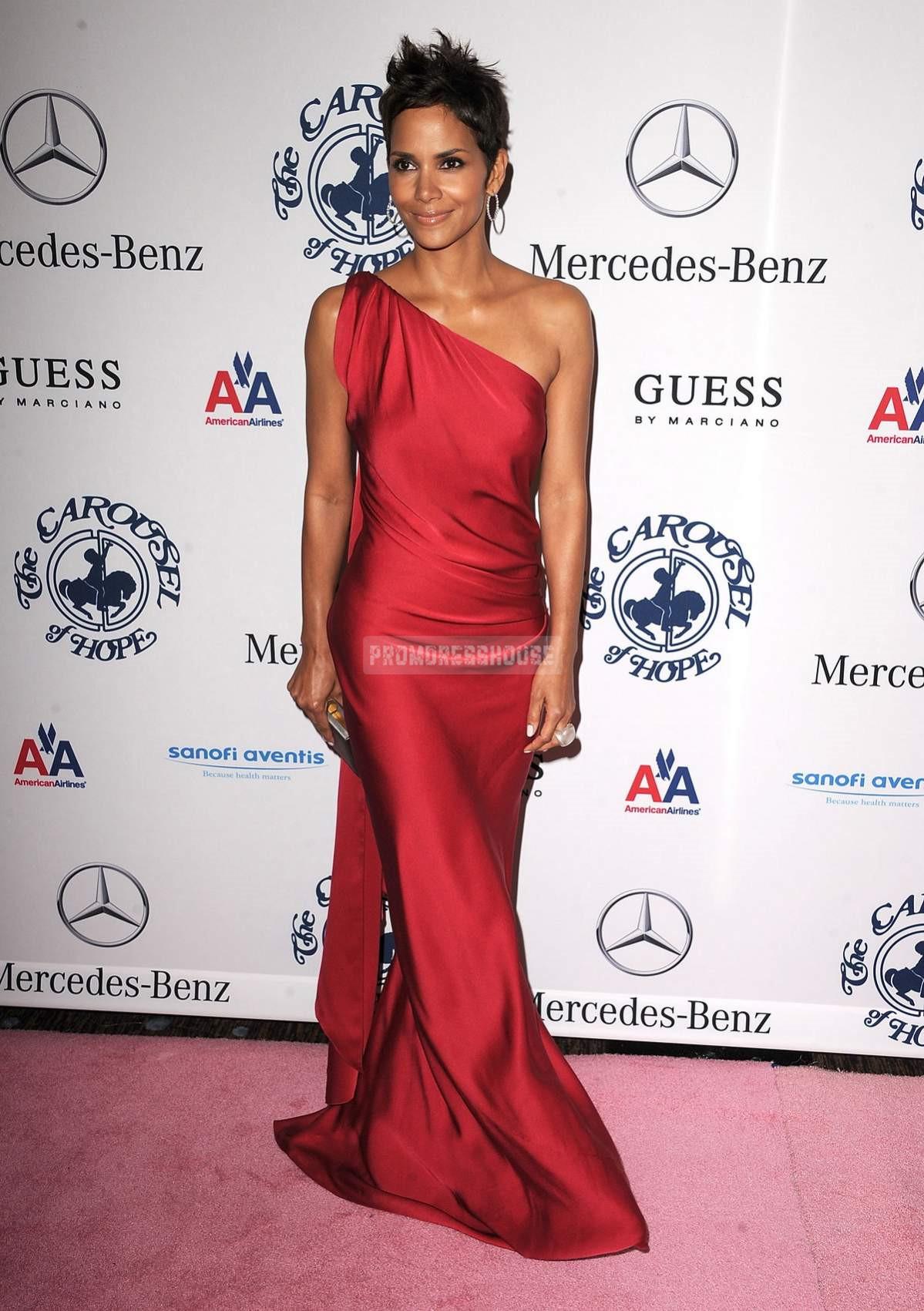 Satin Ruffles Ruby Sweep Train One Shoulder Column Celebrity Dress - Promdresshouse.com