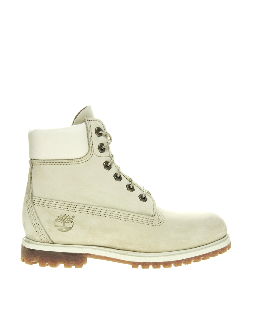 Timberland 6 Premium Winter White Lace Up Flat Boot at asos.com
