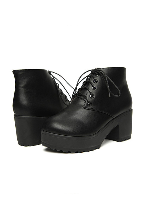 Platform Block Heel Lace-up Ankle Boots - OASAP.com