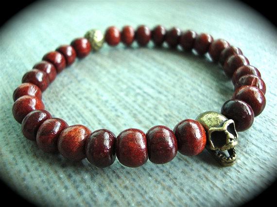 Yogibead wooden bead brass skull bracelet band by yogibead on etsy