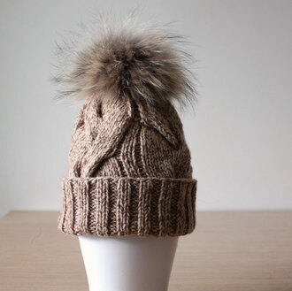 hat knitted hat brown hat raccoon cashmere hat fur pom pom hat pom pom beanie