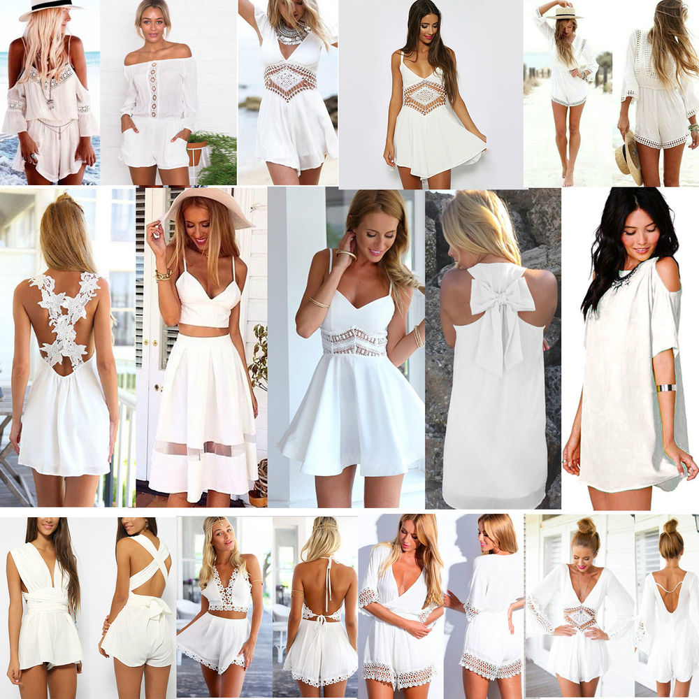 HOT ALL-WHITE Women Summer Celeb Playsuit Party Evening Beachwear Dress Jumpsuit