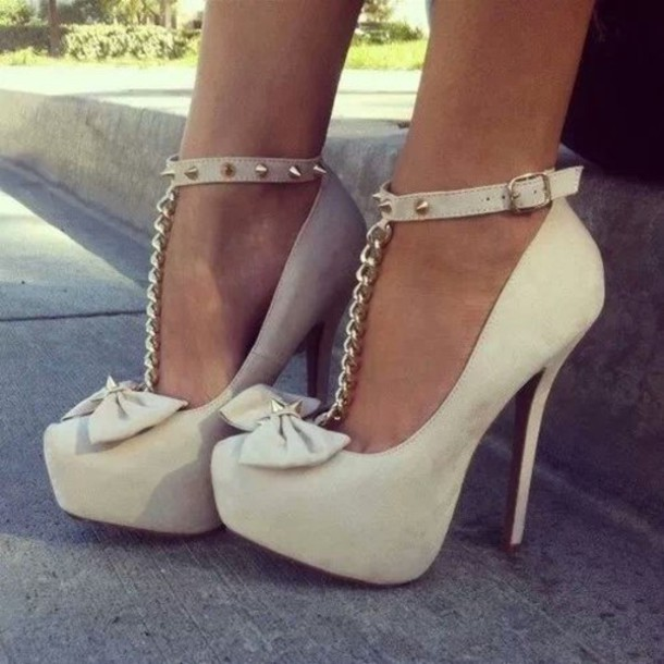 Shoes: high heels, cream high heels, bow, heels, amazinfg ...