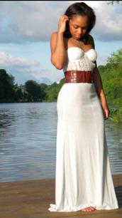 dress,white lace,strapless bralet,brown belt,white skirt,bralet dress