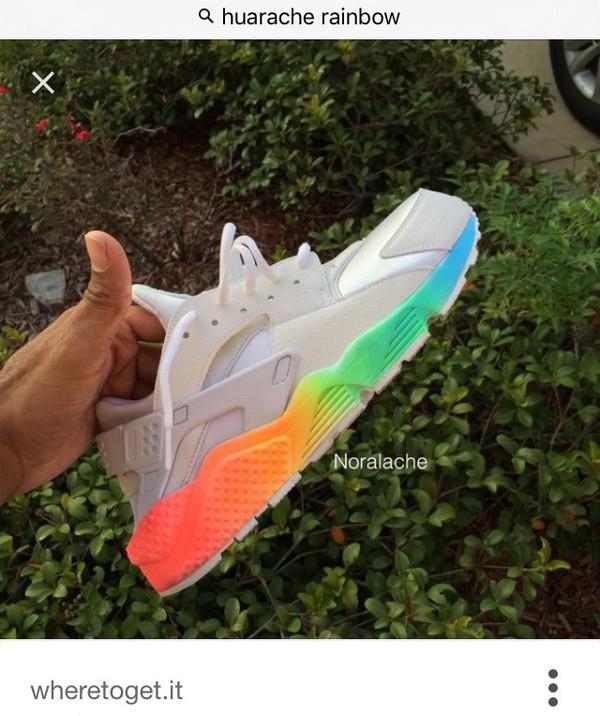 shoes, rainbow, haraches, nike haraches