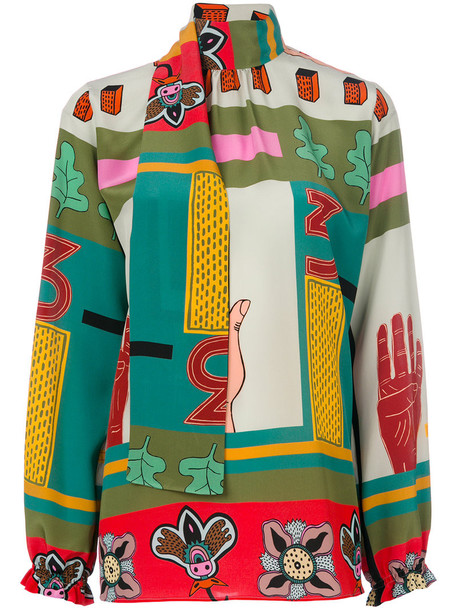 Valentino blouse printed blouse women cotton top