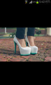 shoes,high heels,white,aqua
