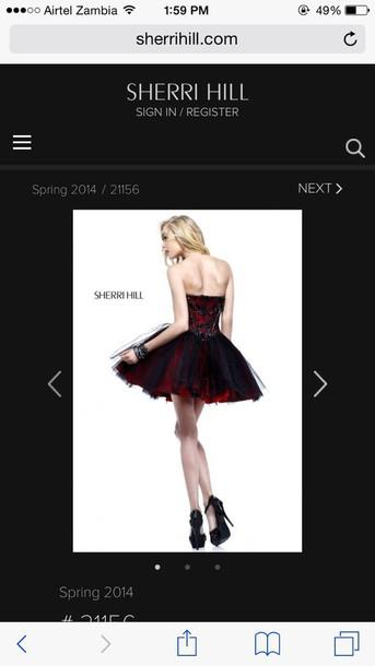 dress sherri hill red black
