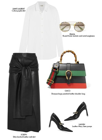 mode d'amour blogger gucci bag prada white blouse saint laurent lanvin leather skirt sunglasses dionysus