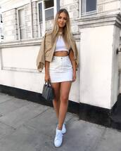 shoes,sneakers,white sneakers,mini skirt,jacket,crop tops,handbag