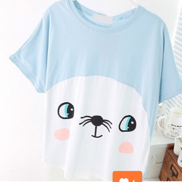 seal shirt blue pastel color seal shirt