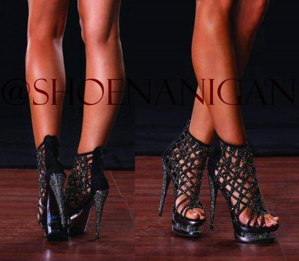 shoes shoenanigan rhinestones gladiators caged bootie sandals black bling  diamonds sandales