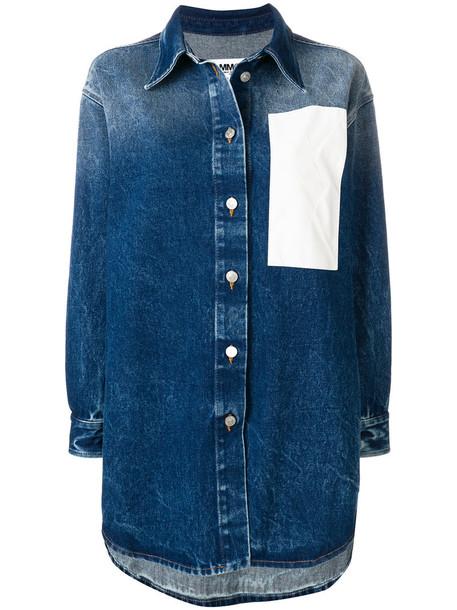 Mm6 Maison Margiela jacket denim jacket denim women white cotton blue