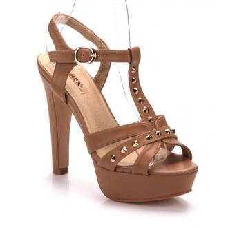 shoes brown nieten gold high great love high heels platea sandale wanna have big love caramel cream feet