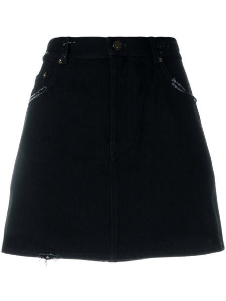 Saint Laurent skirt mini skirt denim mini embroidered women cotton black