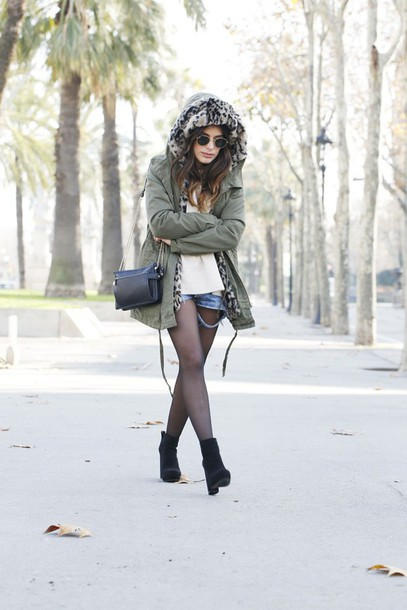 dulceida blogger jacket parka winter coat ripped shorts sweater shorts shoes bag hooded jacket