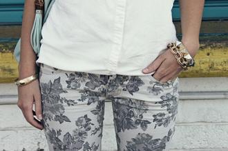 skinny jeans pants pattern low cut liberty flowers