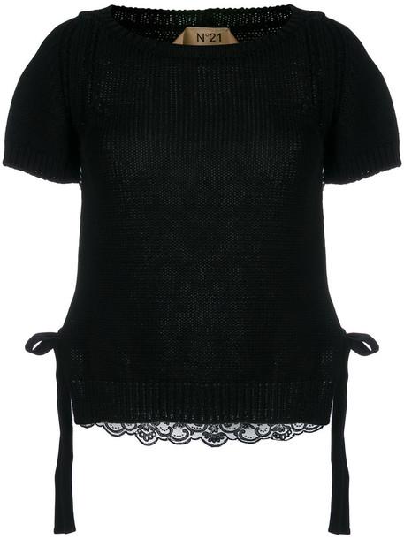 No21 top lace top women lace cotton black silk