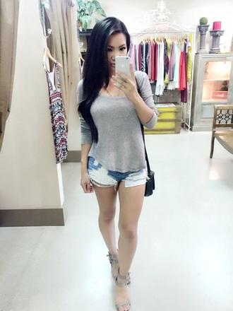 shorts denim shorts blue shirt high heel sandals grey sweater grey t-shirt summer top cute top casual