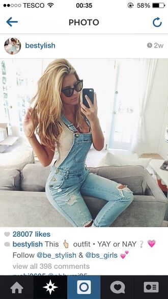 jeans skinny jeans dungarees romper ripped jeans instagram light blue denim overalls