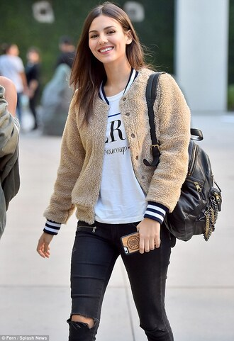 jacket clothes bomber jacket celebrity style victoria justice stripes cute sherpa sherpa jacket furry bomber jacket