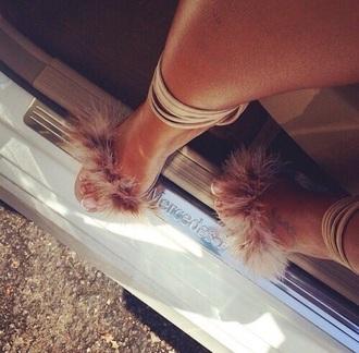 shoes fur heels fur heels strappy heels glamour