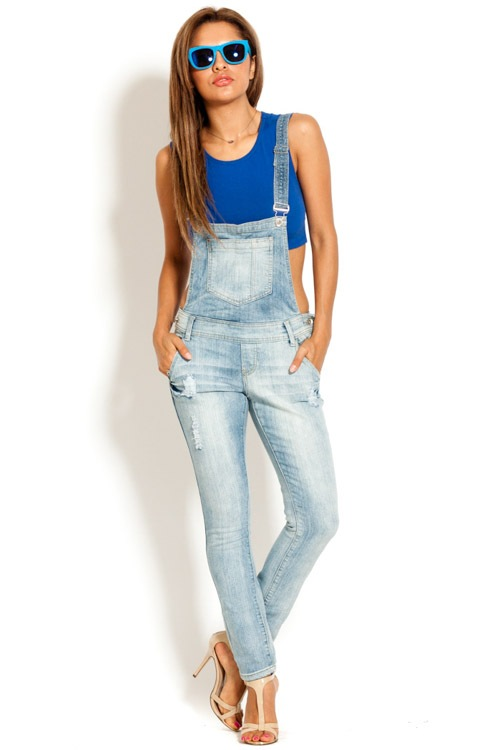 Distressed Denim Overall | Lune Bleue